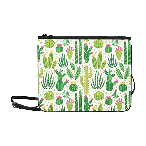 WYYWCY Helle wiederholte Textur mit grünem Kaktusmuster Benutzerdefinierte hochwertige Nylon-dünne Clutch-Tasche Umhängetasche mit Umhängetasche