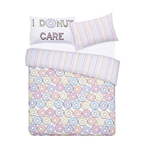 Night Comfort Kid's Eco Breathable I DoNut Care Cotton Blend Duvet Cover Bedding Set With Pillowcases (Single)
