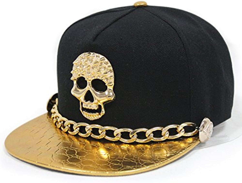 Meaeo Westen Unisex Punk Leder Hut Mit Goldenen Kette Niet Niet Niet Tasten Schädel Hip-Hop Baseball Cap Flat-Brimmed Hat B07D6MNKSL  Sehr gelobt und vom Publikum der Verbraucher geschätzt 7f09c4