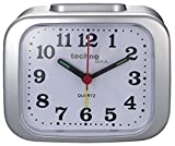 Technoline Despertador de Cuarzo Modelo XL, Retro, Tono de Alarma Fuerte, Pantalla Clara, Color Plateado