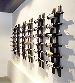 Wall Mounted Wine Rack | Rustic Barrel Stave Hanging Wooden Wall-mounted Wine Rack(Browm, 40
