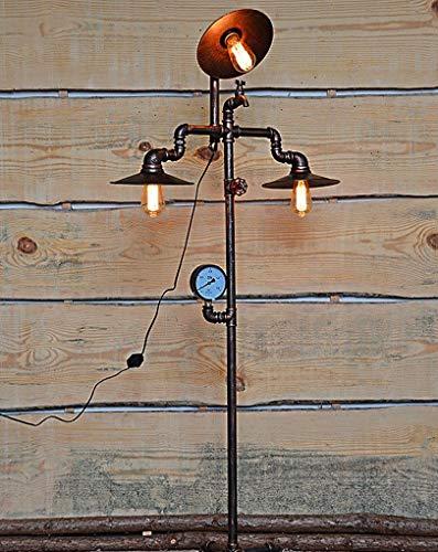 lámpara de pie lámpara de pie Industrial Vintage Color Negro mate E27Vintage lámpara de pie Industrial Retro de diseño Industrial 230V d52cm * h158cm
