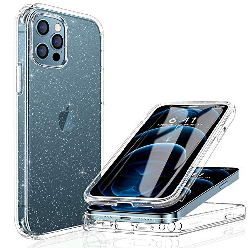 Miracase Glass+ Glitter Clear Protective Case Compatible with iPhone 12 Pro Max 6.7' with [Built-in 9H Tempered Glass Screen Protector],2020 Full-Body Clear/Silver Glitter Case for Girl Women