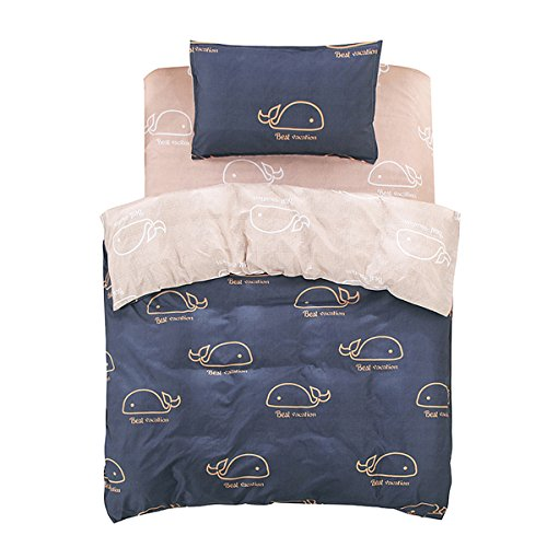 FINDNEW Animal Pattern Reactive Printing Bedding Duvet Cover Set, 3-Piece Suit,1 Duvet Cover,1 Flat Sheet,1 Pillowcase, Great Gift Idea for Boys & Girls, Cool & Breathable(Twin Size, Whale)