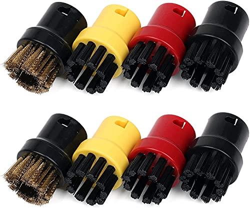 Nordun 8pcs Nylon + Cepillo Cepillo de alambre de latón, Boquillas de limpieza de vapor para Karcher SC1 SC2 SC3 SC4 SC5 SC7 CTK10,Cepillo de cerdas para boquilla de mano para limpiador de vapor