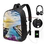 WEQDUJG Mochila Portatil 17 Pulgadas Mochila Hombre Mujer con Puerto USB, Islas de Tenerife Mochila para El Laptop para Ordenador del Trabajo Viaje