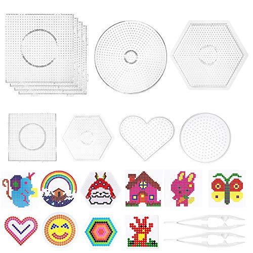 LAOYE Stiftplatte für Bügelperlen Steckperlen Platte Set 12pcs, 6pcs Bügelperlen Platten Groß + 4pcs Steckperlen Platte Klein transparent mit 10 Bügelperlen Schablone und 2 Weiße Pinzette