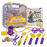 Li'l-Gen Doctor Kit for Kids, 13 Piece Doctor Kit with Kids Toy Stethoscope Plus Case - Pretend Play for Boys and Girls Age 3+ - Includes Oliver's Day as a Doctor Book