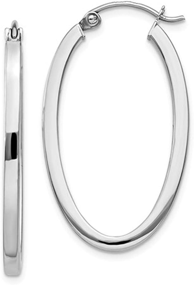 14K Gold Oval Hoop Earrings, (31-52mm) (2mm Tube)