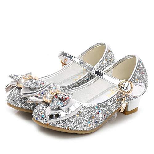 Zapatos de princesa para niñas sandalias de tacón alto con purpurina brillante y diamantes de imitación para bebés de fiesta, color plateado, 34