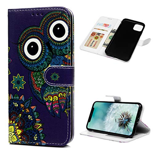 Tom's Village Relief Colorful Printed Wallet Case for iPhone 11 Pro Max PU Leather Magnetic Flip Cover Shockproof Flexible Soft TPU Ultra Slim Protective Bumper ID/Credit Card Slot Kickstand Totem Owl