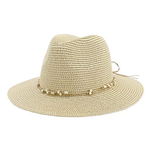 SSHZJUS Women Straw Sun Hat Beach Hat Outdoor Beach Sun Fedora Hat Protection Sun Hat Straw Braided String Beaded Jazz Hat (Color : Light Khaki, Size : 56-58cm)