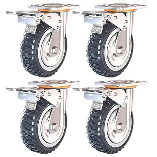JXJ 50-mm-Transportrollen, Lenkrollen mit Bremsen, Polyurethanrollen, verschleißfest, 360 Grad;Rotation, schwere Rollen, Fabrik/Ausrüstung, 4 Bremsen, 150 mm