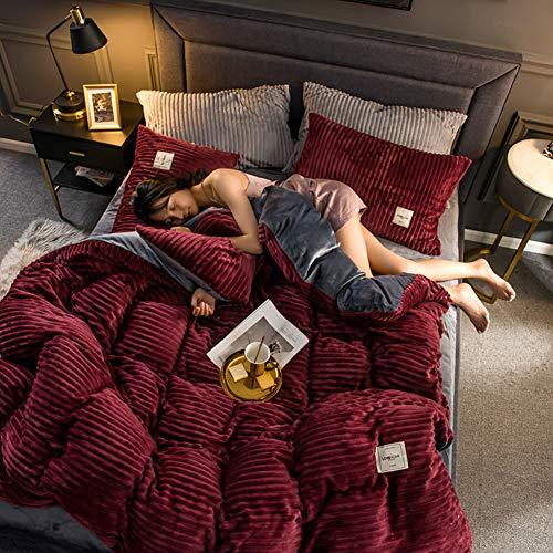 Duvet Cover Einfarbige Flanell Bettbezug,verdicken Plüsch Allergiker-geeignet Wärme Weich Doppelseitige Magie Samt Bettbezug Mit Reißverschluss-rot 220x240cm(87x94inch)