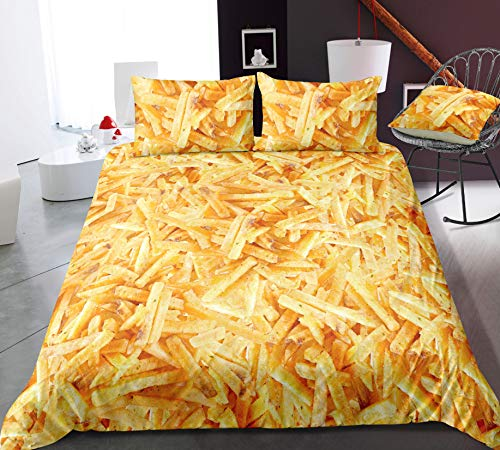 HDBUJ Gourmet Pattern French Fries 3D Bedding Nordic Style, Soft Polyester Duvet Cover,With Zipper, With Two Pillowcases 200X200Cm