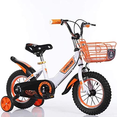 JIAMING - Bicicleta infantil para niño, Boyrsquo;s Girlrsquo;s Bicicleta de entrenamiento para 2-9 años, bicicleta infantil, con ruedas de entrenamiento, 95% montado, en tamaño 12', 14', 16' y 18', color naranja, tamaño 35,56 cm