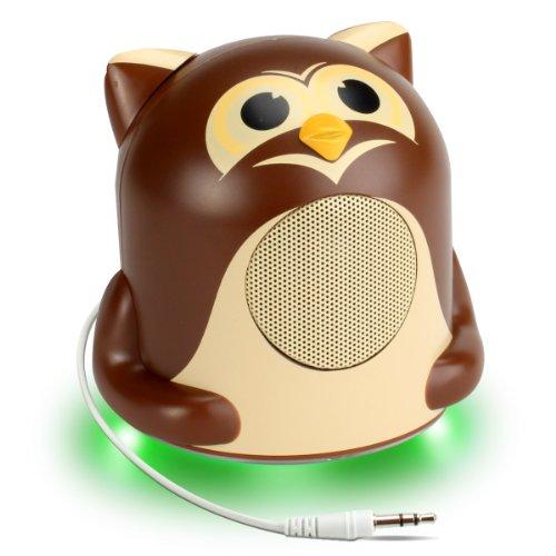 GOgroove Altoparlante Musicale Portatile con Design Animale (Gufo) e Luce Notturna a LED Verdi per Bambini, Bimbi, Neonati – Funziona con cellulari, Tablet, Lettori MP3   MP4 e Altro!