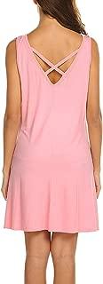 Women's Summer Sundresses Beach Cover Up Criss Cross Back Pocket Swing T-Shirt Dress S-3XL