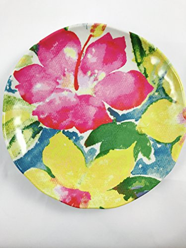 Nicole Miller Home Tropical Hibiscus Flower Print Melamine Salad / Snack Plate - Set of 6