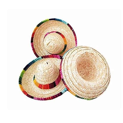 Hemicala 3 Stücke Hüte Verrückte Nächte Natürliche Stroh Mini Hüte Mini Mexikanischen Hut Desktop Party Supplies Karneval Geburtstag Party Dekorationen