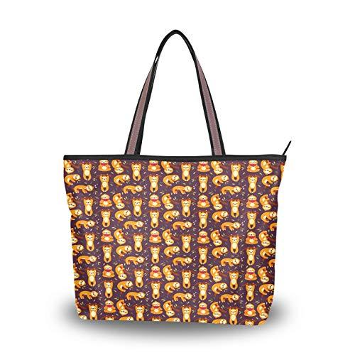 JUMBEAR Canvas Tote Bag Women Handbag Sloth On The Tree Eat Watermelon Kaki Ladies Shopping Shoulder Bag,L