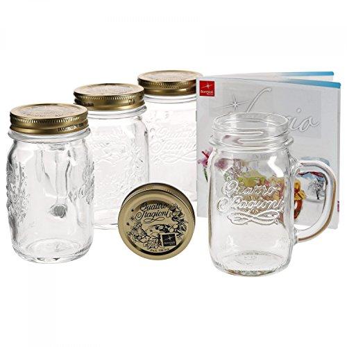 Bormioli 4er Set Trinkglas mit Henkel und Deckel Original Quattro Stagioni Glas 0,415L - inkl Rezeptheft