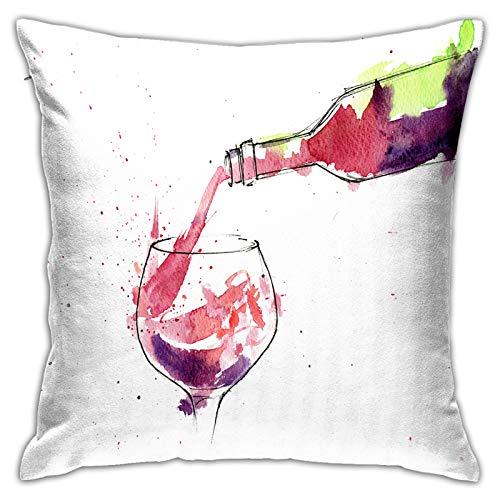 Gggo Cuadrado Funda de Almohada Botella de Vino Tinto salpicando Fundas de cojín para Sala de Estar sofá, Dormitorio, decoración 50x50cm