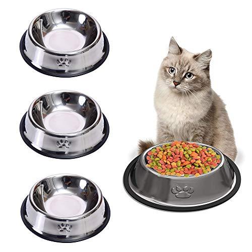 zfdg Comedero Gato y Perro, 3 Piezas Cuencos Antideslizantes Gatos, Acero Inoxidable Cuencos Gatos, Comedero para Perro, Cuencos para Gatos, para Gato Hámster Pequeño Cachorro Perros Animales