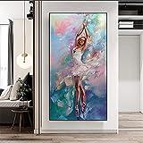 XIANGY Cuadro abstracto de bailarina de bailarina de ballet para niña, cuadro de pared para salón o dormitorio, sin marco (40 x 80 cm)
