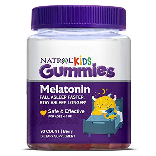 Natrol Kids Melatonin Gummies, Helps Kids Sleep, 100% Drug-Free, Easy to Take, Faster Absorption, Gentle Formula, Natural Berry Flavor, 1mg, 90 Gummies