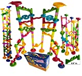 Marble Run Coaster 106 BIG Elements Kit 76 Blocks+30 Plastic Marbles. Tracks length 194' Genius Fun Set. Learning Railway Construction. TEVELO DIY Endless Design Maze, Classic Toy for Family.