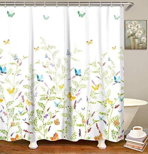 LIVILAN Cherry Blossom Duschvorhang-Set mit 12 Haken Butterfly Floral -Type 2