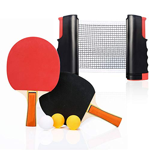 Table Tennis Set with 2 Bats - 3 Balls - 1 Retractable Table Tennis Nets, Ping Pong kit for Adults and Children, Indoor or Outdoor Games, Apply to Dining Table, Desk, Tea Table ect#PPQTZ