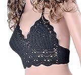 YOLIA Mujeres Crochet Camisolas Tops de Verano Sujetador de Bikini hecho a Mano de Punto Chalecos Halter