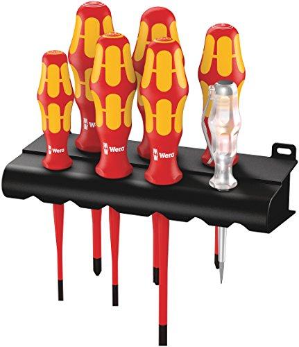 Wera 160 iS/7 Rack Schraubendrehersatz Kraftform Plus Serie 100 + Spannungsprüfer + Rack. Mit reduziertem Klingendurchmesser, 7-teilig, 05006480001