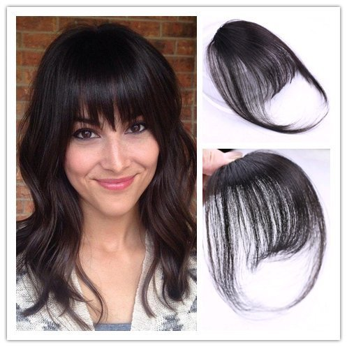 Moresoo Extensiones de Clip de Pelo Natural Hair Bangs with Temples One Piece Fringe #1B Negro Natural Remy Human Hair Clip in Front Fringe