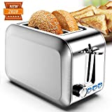 Toasters 2 slice Best Rated Prime Wide Slot Stainless Steel 2 Slice Toaster with 7 Shade Settings & Removable Crumb Tray & Defrost/Reheat/Cancel Mode