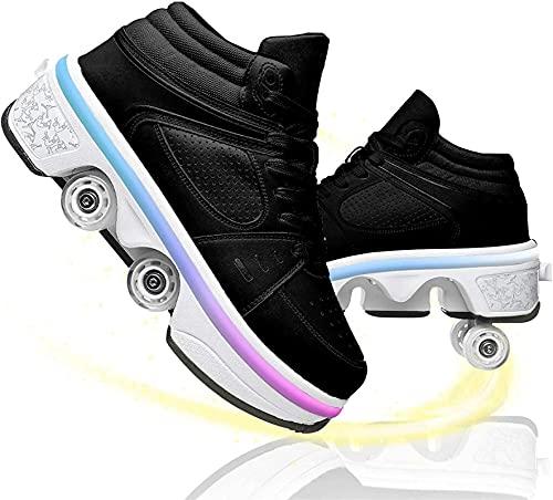 Patines Patines de deformación invisible Patines Unisex 2 en 1 Zapatos multifuncionales con rueda deforme de doble fila y barra de luz de 7 colores para niños adultos ( Color : Black , Size : 33 )