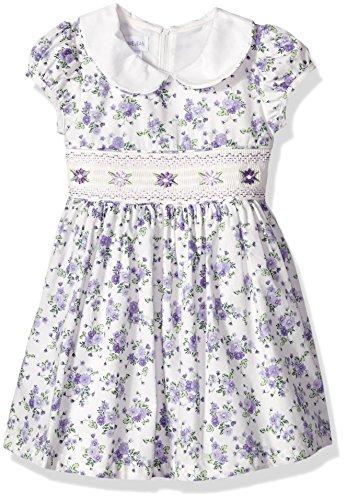 Bonnie Jean Girls' Little Collared Cotton Dress, Lavender, 6
