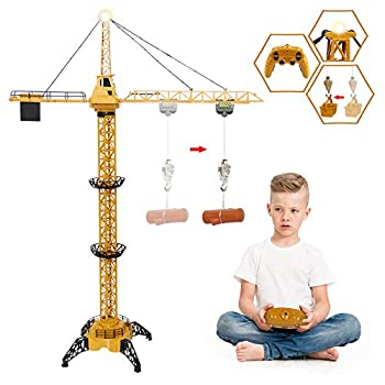 Mini Tudou RC Crane Toy,50.4 inch Tall 2.4GHz Remote Control Robotic Excavator,Educational Construction Vehicles Toy for Ages 6,7,8,9 Boys or Girls