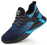 Zapatos de Seguridad Hombres Mujeres Zapatos de Trabajo S3 con Zapatillas con Punta de Acero Zapatos Protectores Transpirables Ligeros Zapatillas Deportivas (Azul, 43)