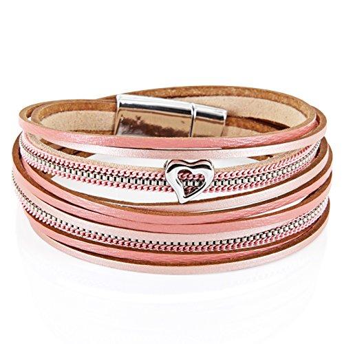 StarAppeal Armband Wickelarmband in Leder mit Herz, Kette und Magnetverschluss Silber, Damen Armband...
