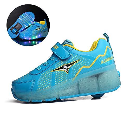 WXBYDX Mädchen Jungen Mode LED Rollenschuhe LED Lichter Blinken Rollschuh Kinder Skates Schuhe Atmungsaktiv Mesh Sneaker Outdoor-Sportarten Skateboardschuhe Mit Rollen,Größe (25-42) 39
