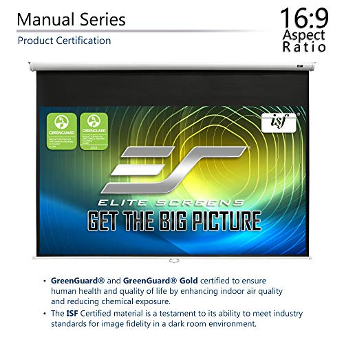 Elite Screens Manual Series, 120-INCH 16:9, Pull Down Manual Projector Screen with AUTO LOCK, Movie Home Theater 8K / 4K Ultra HD 3D Ready, 2-YEAR WARRANTY, M120XWH2