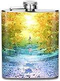 wonzhrui Day Night 3D Print Hip Bottle 7oz Portable Pocket Bottle Bag Bottle Camping Stainless Steel Wine Bottle Suitable Unisex