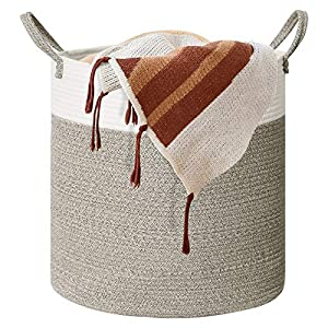 """Cotton Rope Storage Basket, Woven Laundry Basket for Blankets, Decorative Basket for Toys, Nursery, Pillows and Towels, Baby Laundry Basket with Handles-Brown Mix(18""""x20"""")"""