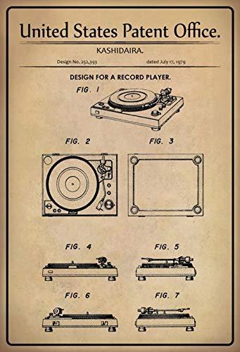 FS Patent ontwerp voor platenspeler Kasidaira metalen bord bord gebogen metalen teken 20 x 30 cm