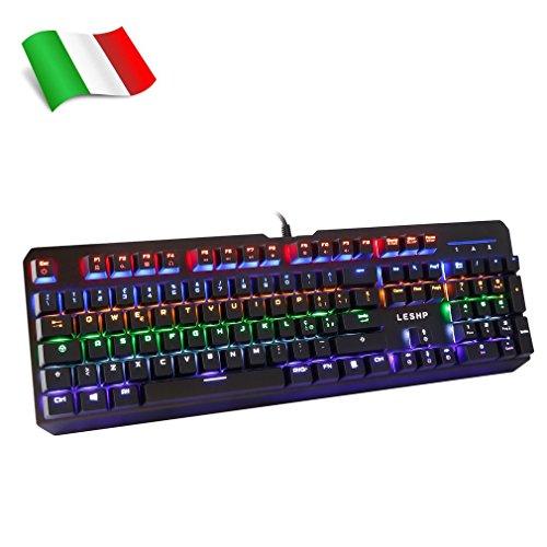 Tastiera per Giochi Meccanica, LESHP [Layout Italiano Aggiornato] Tastiera italiana da gioco, 105 tasti Tastiera 7 Colori Retrolluminazione Regolabile Tastiera Per Gioco Gaming