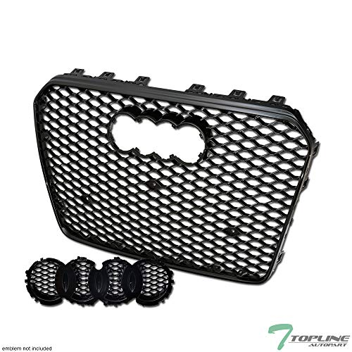 Topline Autopart Black RS-Honeycomb Mesh Front Hood Bumper Grill Grille ABS For 13-16 Audi A5 / S5 B8.5