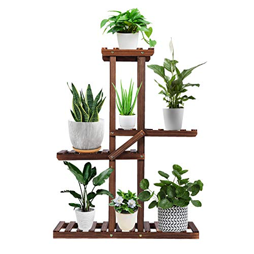 EBBCOWRY Plant Shelf Indoor, Wood Plant Stands with Roller,Indoor Outdoor Plant Stand,Plant Stands for Multiple Plants for Living Room Garden Corner Patio Yard Balcony